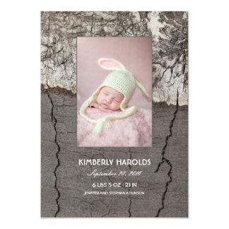 Nascimento recém-nascido de madeira rústico da convite 12.7 x 17.78cm