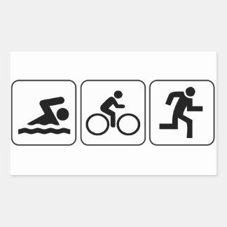 Natação, bicicleta, funcionamento - Triathlon Adesivo Retangular