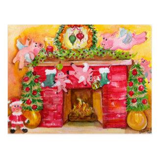 Natal 2010 que decora o cartão dos porcos do vôo