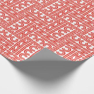 Natal agradável vermelho & branco papel de presente