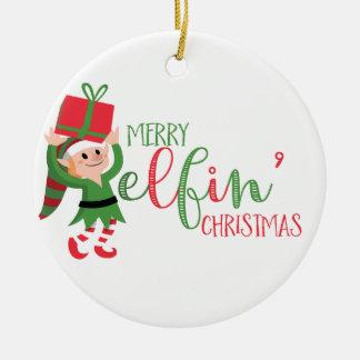 Natal alegre de Elfin do duende engraçado Ornamento De Cerâmica
