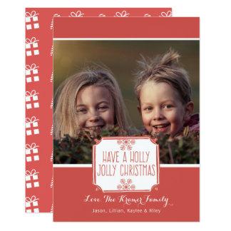 Natal alegre do azevinho do cartão com fotos | do