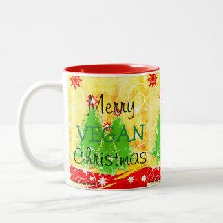 Natal alegre do Vegan, caneca do Natal para o