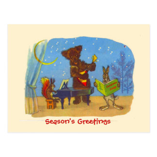 Natal, animais que fazem a música do Natal Cartao Postal