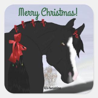 Natal árabe preto do cavalo adesivo quadrado