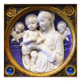 Natal azul da safira de MADONNA, da CRIANÇA E dos Convite Quadrado 13.35 X 13.35cm