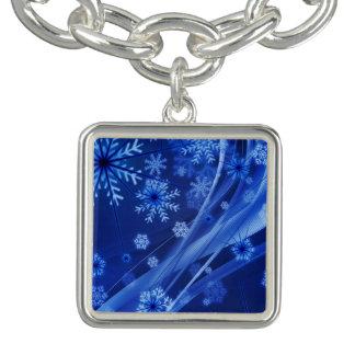 Natal azul dos flocos de neve do inverno charm bracelet