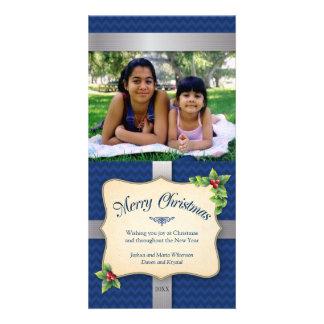Natal azul envolvido de Chevron do presente Cartões Com Foto Personalizados