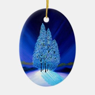 Natal azul sete das árvores Spruce Ornamento De Cerâmica Oval