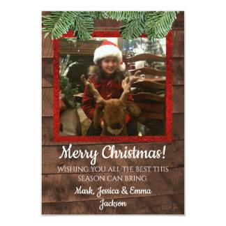 Natal Barnwood do país & cartão com fotos do pinho