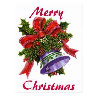 Natal Bell de prata Cartão Postal
