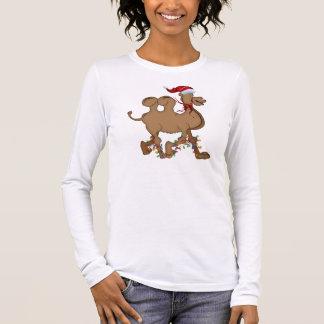 Natal bonito do dia de corcunda do camelo camiseta manga longa