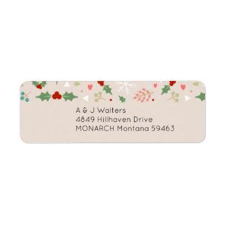 Natal bonito floral & etiqueta de endereço dos
