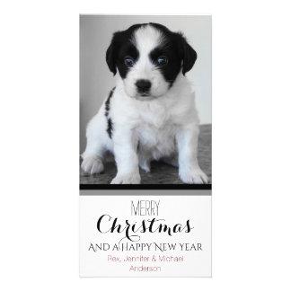 Natal branco preto do feriado do animal de cartão com foto