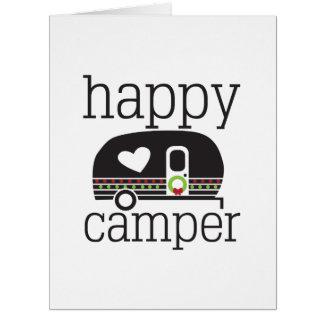 Natal, campista feliz, cartão do feriado