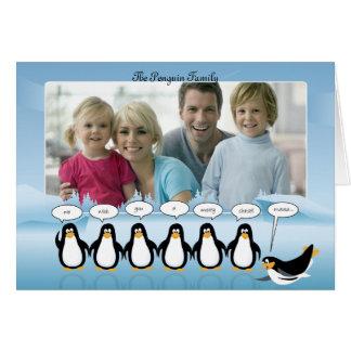 Natal & cartão com fotos do ano novo com pinguins