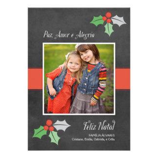 Natal Cartão Fotográfico Paz Amor e Alegria Convites