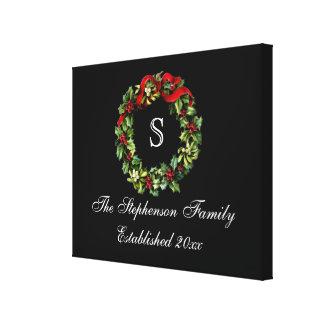 Natal clássico do costume da grinalda do azevinho impressão de canvas envolvidas