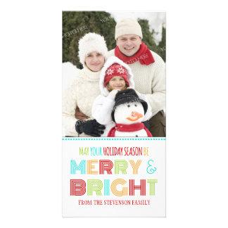 Natal colorido do cartão com fotos alegre & brilha
