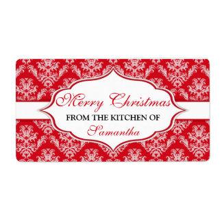 Natal da cozinha das etiquetas personalizadas