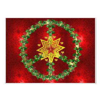 Natal da estrela da paz convite 12.7 x 17.78cm