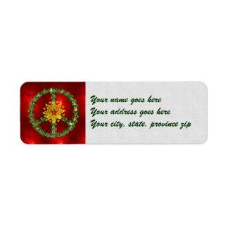 Natal da estrela da paz etiqueta endereço de retorno