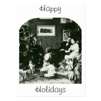 Natal da família do vintage - Stereoview Cartão Postal
