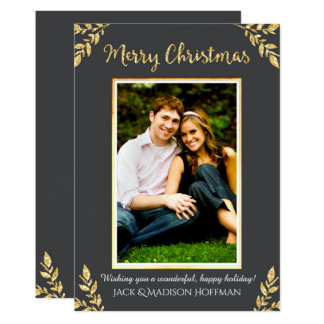 Natal da folha de ouro (cinza) - cartões de foto