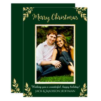 Natal da folha de ouro (verde) - cartões de foto