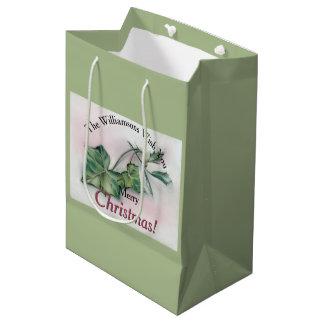 Natal da hera e do azevinho sacola para presentes média