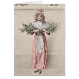 Natal da menina do azevinho do visco do vintage cartão comemorativo