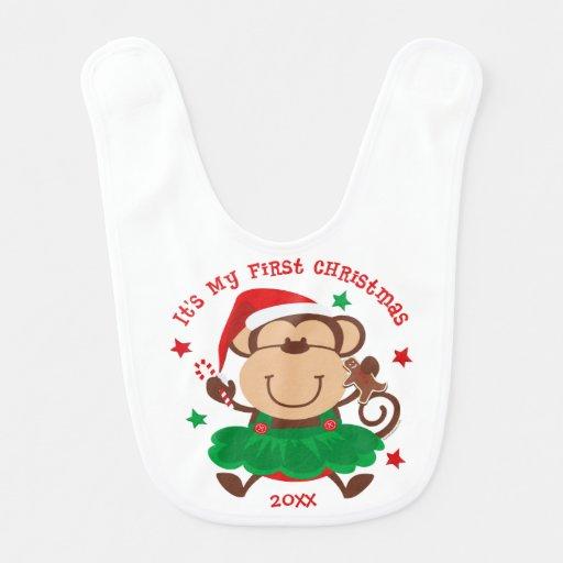Natal da menina do macaco ø babadores para bebes