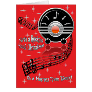 Natal de balanço - rádio do art deco cartao