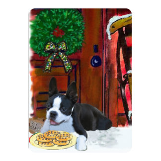 Natal de Boston Terrier Convite 12.7 X 17.78cm
