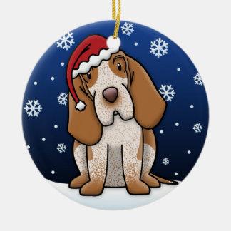 Natal de Bracco Italiano dos desenhos animados de Ornamento De Cerâmica Redondo