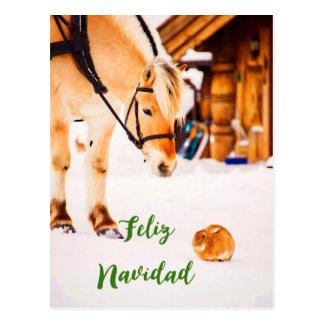 Natal de Feliz Navidad com os animais de fazenda Cartão Postal