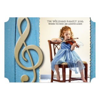 Natal de madeira azul da foto da música do ouro convite 12.7 x 17.78cm