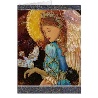 Natal do anjo & da pomba do renascimento cartao