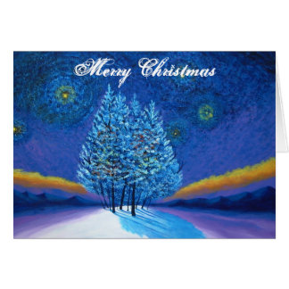 Natal do azul do estilo de Van Gogh Cartão Comemorativo