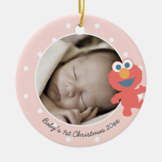 Natal do bebê de Elmo | o primeiro - adicione seu Ornamento De Cerâmica Redondo