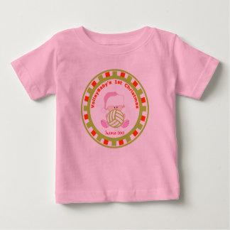 Natal do bebé do voleibol ø com nome camiseta para bebê