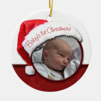 Natal do bebê o ø - ornamento da foto do chapéu do