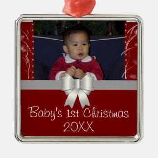 Natal do bebê o ø ornamento quadrado cor prata