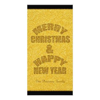 Natal do brilho e ano novo PhotoC personalizado Cartão