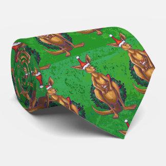 Natal do canguru no verde pintado traseiro gravata