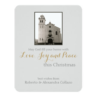 Natal do cinza da igreja Católica Convite 10.79 X 13.97cm