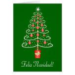 Natal do espanhol de Feliz Navidad da árvore de Cartão Comemorativo