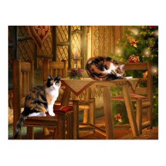 Natal do gatinho da chita cartoes postais