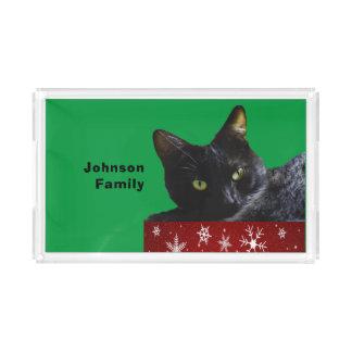 Natal do gato preto na bandeja vermelha do serviço