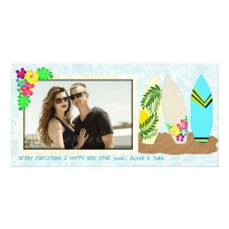 Natal do Hawaiian das prancha Cartão Com Foto